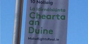 Image of banner in Ireland celebrating Human Rights Day